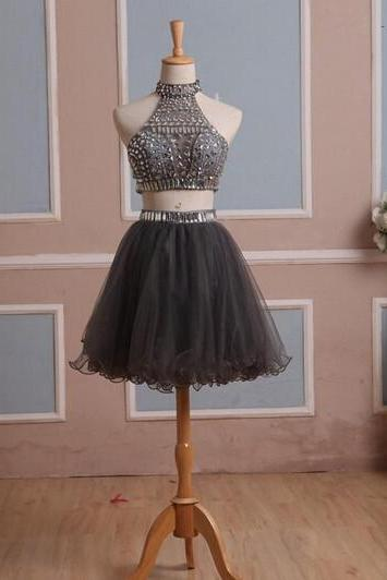 Two-pieces Short Sparkle Homecoming Dress,Mini Sexy Prom Dress,Homecoming Dresses