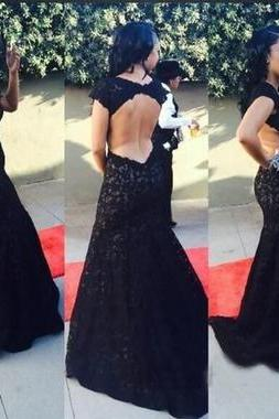 Black Lace Long Prom Dress,Sexy Backless Mermaid Prom Dresses