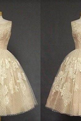 Tea Length Champagne Lace Homecomig Dress,Sleeveless Applique Prom Dresses