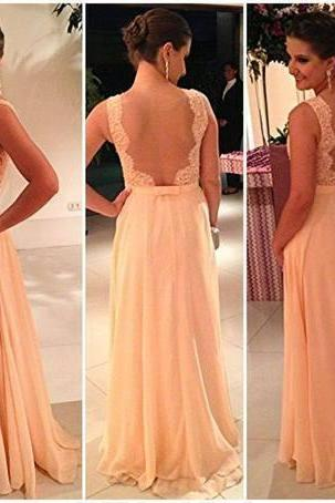 Backless Sleeveless Chiffon Prom Dress,Florr Length Prom Dresses