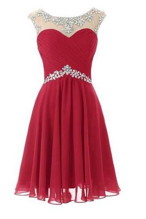 Adorable Short Chiffon Homecoming Dress,Round Neckline Homecoming Dresses With Beadings Red