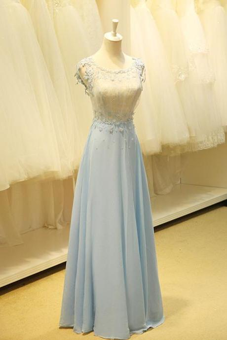 Blue Prom Dress With Applique, Sweetheart Prom Dress,Long Chiffon Prom Dresses