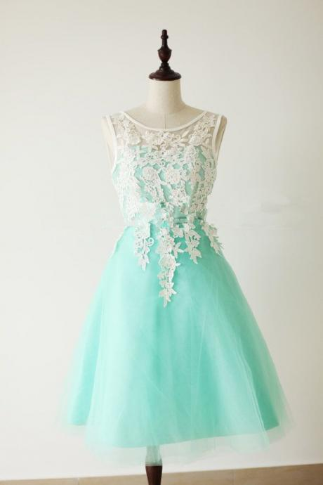 Tulle Tea Length Prom Dress With Applique, SleevelessGreen Chiffon Strapless Prom Dresses