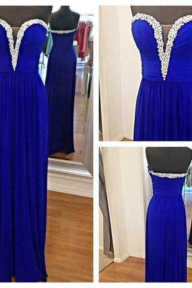 Royal Blue Simple Prom Dresses ,Strapless Dress For Prom,Long Prom Dress