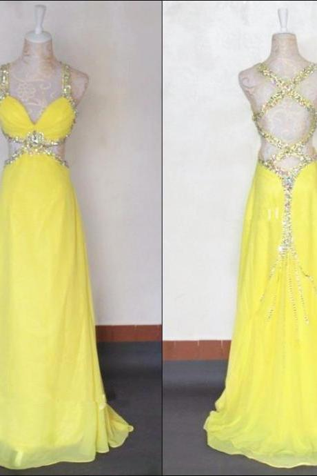 Crossed Back Sequins Prom Dress,Halter Floor Length Yellow Prom Dresses