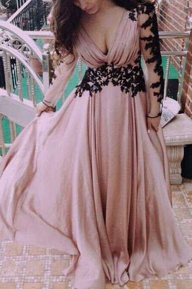 V-Neckline Chiffon Backless Prom Dress,Champagne Pink Appliques Prom Dresses