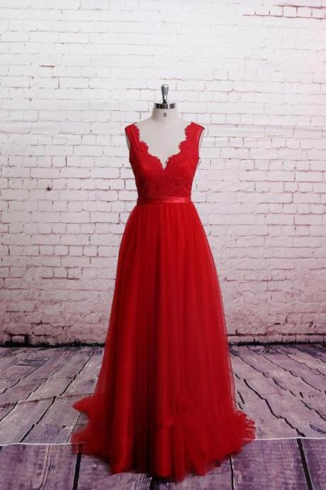 Classic Lace Red Prom Dresses,A-Line Bridesmaid Dress, Dress For Prom