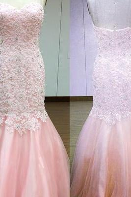 Mermaid Pink Long Prom Dress,Strapless Sweetheart Backless Prom Dresses
