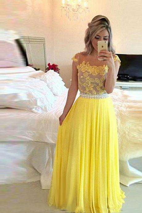 Sexy Yellow Elegant Lace Applique Prom Dress,Long Chiffon Prom Dresses
