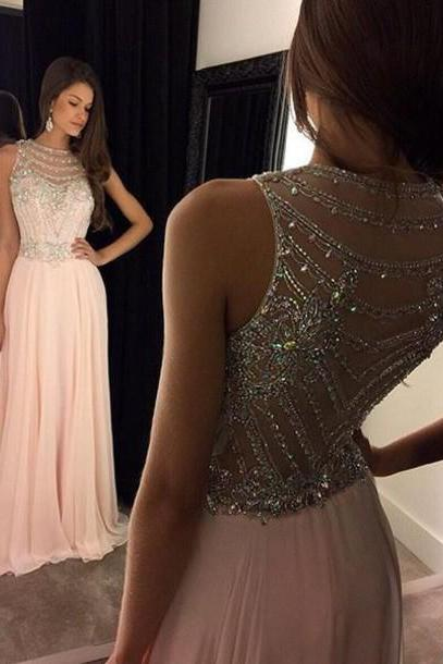 Beading Chiffon Long Prom Dress,Sleeveless Sweetheart Prom Dresses
