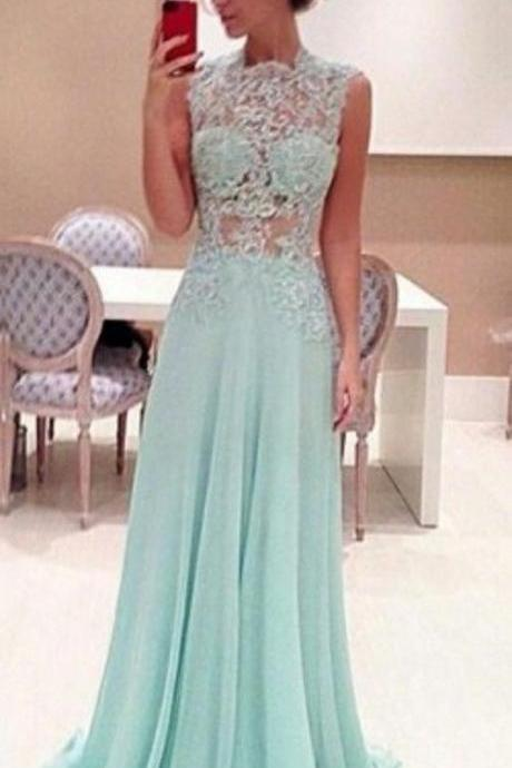 A Line High Neck Lace Prom Dresses, Long Lace Applique Prom Dress,Dress For Prom