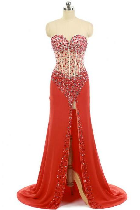 Mermaid Long Chiffon Beaded Prom Dress,Red Sexy Slit Prom Dresses