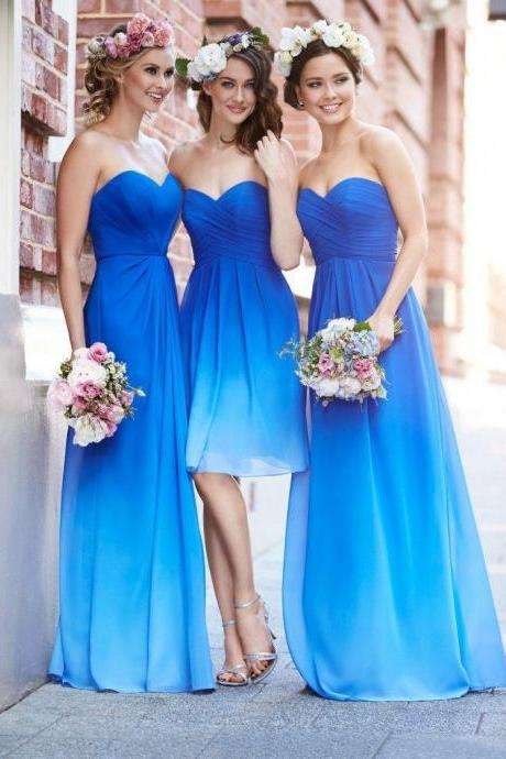 Sweetheart Chffion Long Prom Dress,Bridesmaid Dresses,Sleeveless Prom Dresses