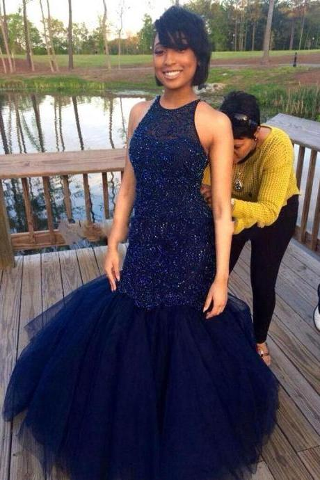 Blue Beading Mermaid Prom Dresses,Sleeveless Halter Backless Prom Dress,Dress For Prom