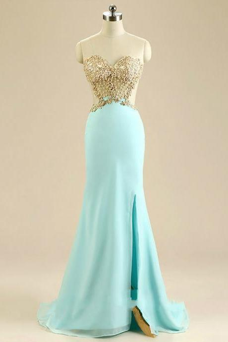Front Slit Mermaid Prom Dress, Champagne Appliques Sweetheart Long Prom Dresses