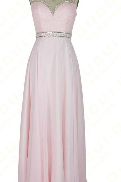 Pink See Through Back Beading Prom Dress,Sleeveless Long Chiffon Prom Dresses