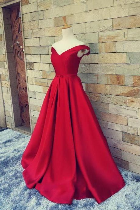 A-Line Satin Prom Dress, Red Long Prom Dresses,Evening Dress
