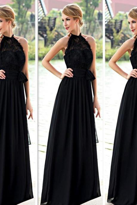 Lace Black Prom Dress, Halter A-Line Prom Dresses,Evening Dress