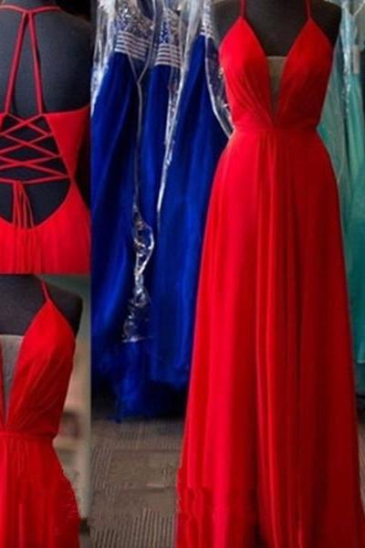 Backless Red A-Line Chiffon Prom Dress