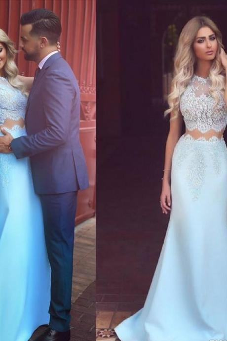 Lace Satin Light Blue Prom Dress,Sleeveless Mermaid Prom Dresses