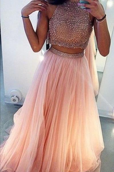 Two Pieces Pink Prom Dress, High Neck Prom Dresses,Evening Dress