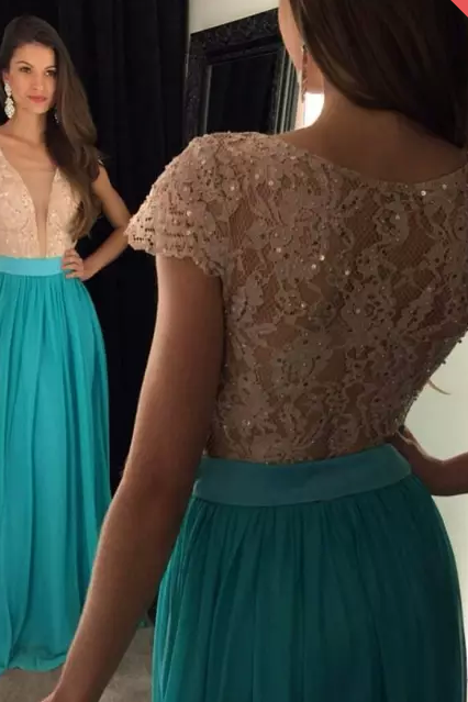 V-Neck Blue Prom Dress,A-Line Prom Dresses,Evening Dress