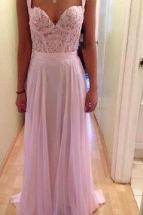 Pink Bodice Prom Dress,A-Line Prom Dresses,Evening Dress