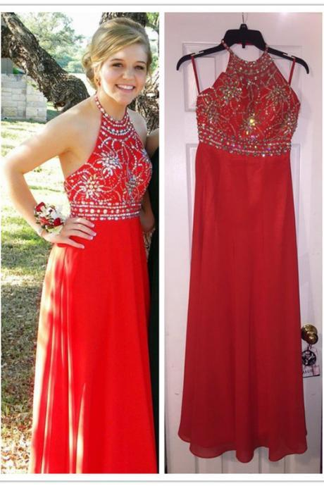 A-Line Red Prom Dress,Halter Prom Dresses,Evening Dress