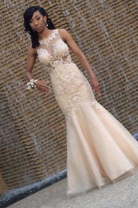 Sleeveless Mermaid Prom Dress,Lace Appliuque Prom Dresses