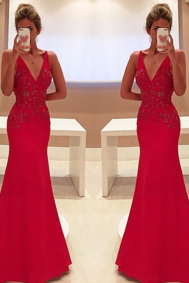 V-Neck Sleeveless Red Prom Dress,Floor Length Prom Dresses