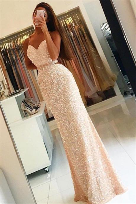 Spaghetti Straps Backless Prom Dress,Sequin Long Prom Dresses