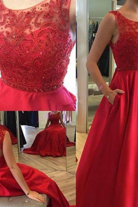 A-Line Red Satin Prom Dress,Beading Long Prom Dresses
