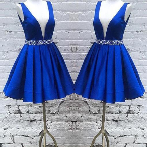 Blue Beading straps Deep V-neck pleated Short Homecoming Dresses