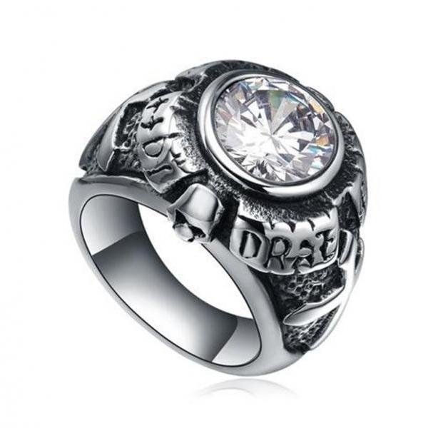 Stainless Steel Men's Cross and Skull W. Clear Cubic Zirconia Biker Ring