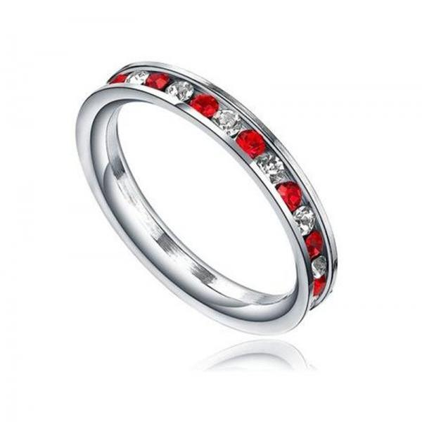Stainless Steel 3mm Eternity Ring W. Red and Clear Cubic Zirconia Womens Ring