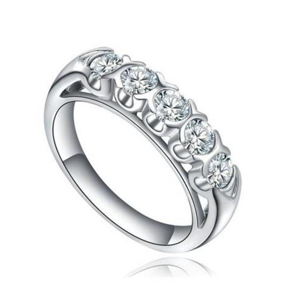 Stainless Steel 5-Stone Cubic Zirconia Womens Engagement Ring