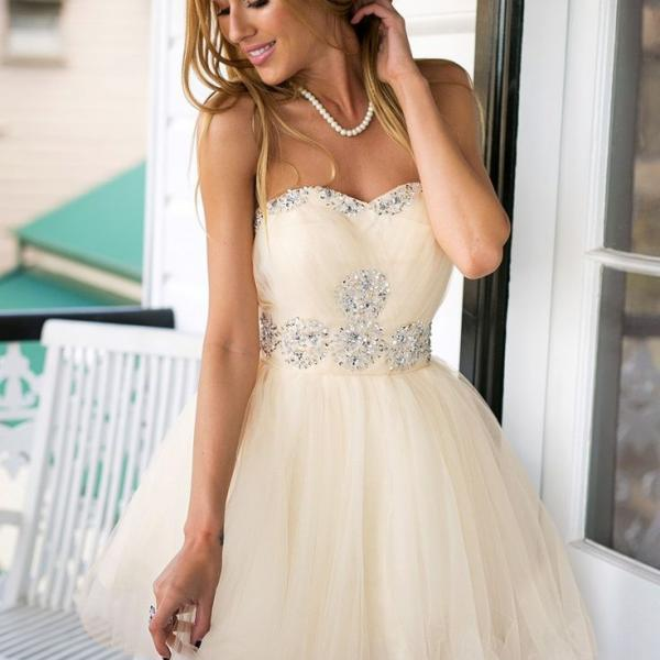 Strapless Cute Short Homecoming Dresses,Crystal Lovely Prom Dresses,Homecoming Dress