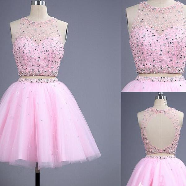 Two Pieces Halter Pink Short Homecoming Dress,Open Back Mini Cocktail Dress,Homecoming Dresses