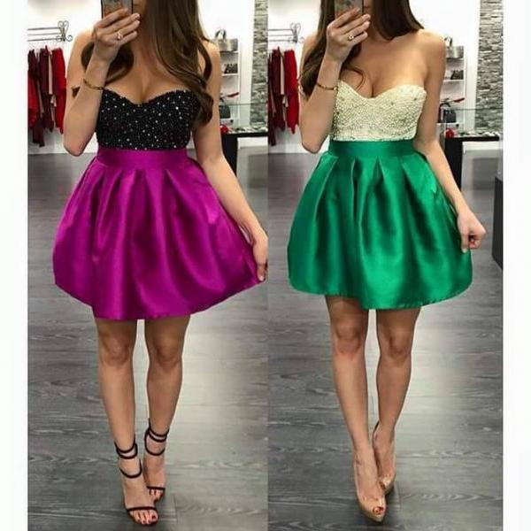 Purple/Green Beaded Top Mini Sweetheart Homecoming Dress, Short Homecoming Dresses