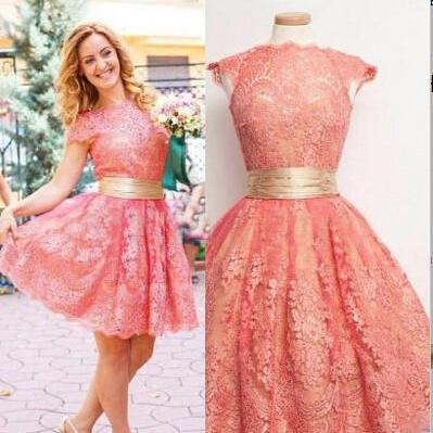 Lace Pink Elegant O-Neck Homecoming Dress,Dress For Homecoming