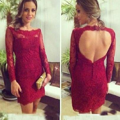 Red Lace Long Sleeve Homecoming Dress,Sheath Backless Prom Dress,Homecoming Dresses